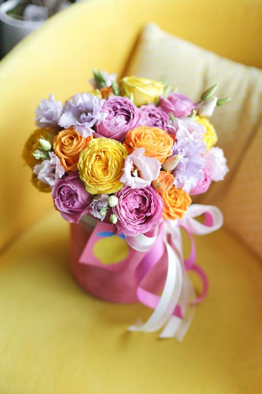 Шляпная коробка с цветами C0148